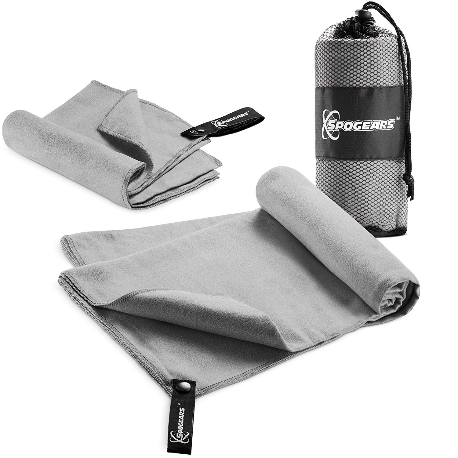 2 pack microfiber travel towel (grey)