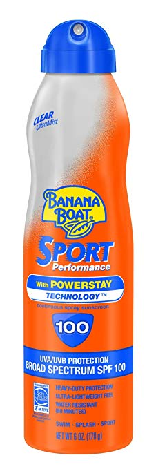 Banana Boat Sunscreen UltraMist Sport Performance Broad Spectrum Sun Care Sunscreen Spray - SPF 100, 6 Ounce
