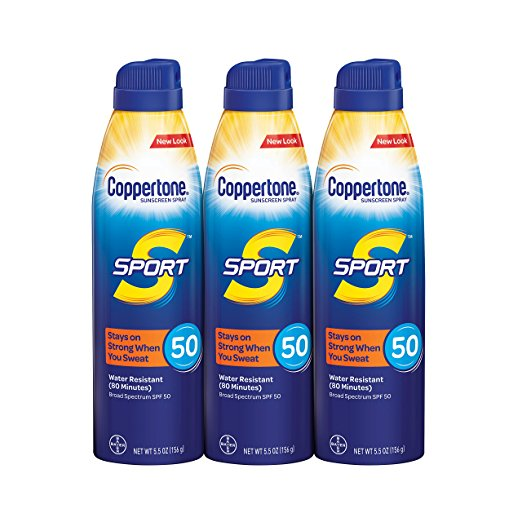Coppertone SPORT Continuous Sunscreen Spray Broad Spectrum SPF 50 Multipack (5.5 Ounce Bottle, Pack of 3)