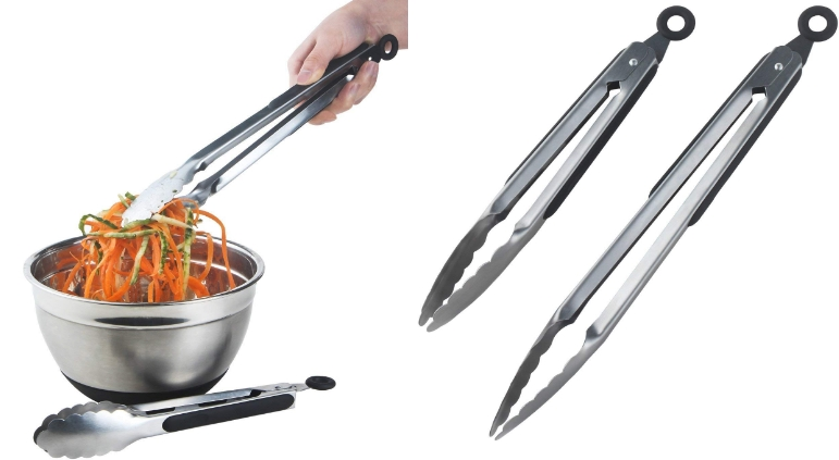 DRAGONN Premium Sturdy 12-inch and 9-inch Stainless-steel Locking Kitchen Tongs, Set of 2