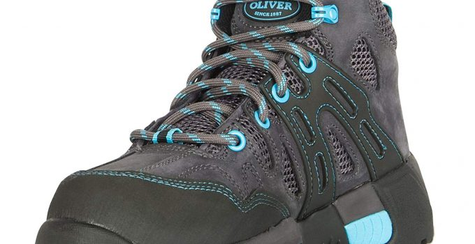 "Oliver 5"" Leather & Mesh Women's Steel Toe Sneakers, Black & Blue (OL21112)"
