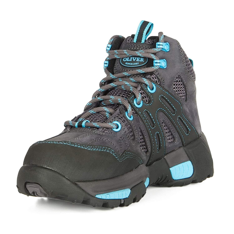 "Oliver 5"" Leather & Mesh Women's Steel Toe Sneakers, Black & Blue (OL21112)"