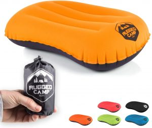 Camping Pillow - Ultralight Inflatable Travel Pillows - Multiple Colors - Compressible, Lightweight, Ergonomic Neck & Lumbar Support - Perfect for Backpacking or Airplane Travel
