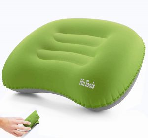 HuTools Inflatable Camping Pillow Backpacking Pillow Lightweight Travel Air Pillow Ultralight Ergonomic Pillow Portable for Airplanes and Road Trips with Neck and Lumbar Support