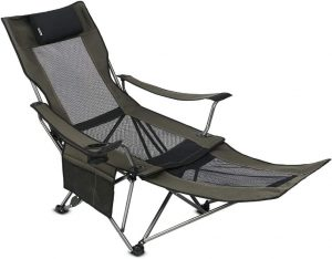 OUTDOOR LIVING SUN TIME Camping Folding Portable Mesh Chair with Removable Footrest