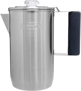 Stanley Camp Percolator w/Silicone Cool Grip - Easy Carry, 6 Cup Stainless Steel Coffee Pot, 1.1 QT Old School Coffee Maker